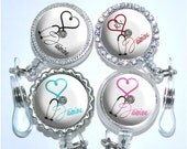 Retractable Badge Holder - Personalized Medical Heart Nurse Reel in 6 Colors, Rhinestone Cardiology Id (A053)