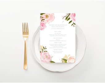 Water Color Menu, Pale Blossoms, For a wedding, rehearsal dinner, baby shower, or party