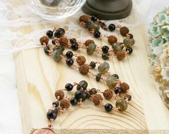 54 half japa mala - rudraksha, bronzite, jade and chalcedony (BA)