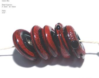 DISCS 29 Lampwork Bead Set Handmade - Black and Red Organic Discs  - 5 Beads