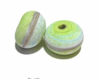 PAIRS 146 Lampwork Bead Pair Handmade  - Matte Soda Finish - Lime Green Ivory SIlvered Ivory Aqua -  Matched Coastal Beach beads  - Set of 2