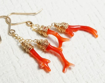 Japanese Red Coral Earrings, Aka Coral Branches Jewelry, Beach Resort Jewelry