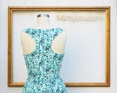 blue polka dot dress - womens retro clothing - racer back dress - summer dress -