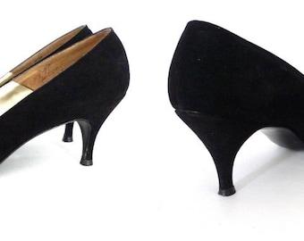 I Miller Kitten Heels sale Vintage 50s 60s I Miller Black High Heel Shoes. Vintage Gothic Witchy Pointy Prom Wedding DAnce Pumps