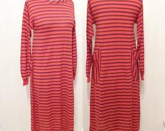 70s Striped Disco Dress Roller Skating Red SlipOn Dress Boat Neck Pockets Fashion A Line Tshirt Tee Shirt Boho Hippy Hippie Festival sale