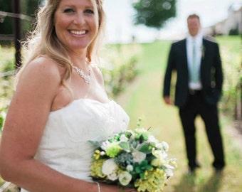 succulent Bridal Bouquet Rustic Chic Woodland farm Wedding accessory Ivory green silk hydrangea flowers bridal party accessories vineyard