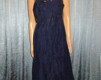 "Vintage 40's or 50's - Barbizon - Rayon - Navy Blue - Empire Waist - Embellished - Embroidered - Cut Outs - Slip - Dress - 38"" bust"