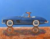 "213 Mercedes 280 SL blue – print 38x38cm/15x15"""