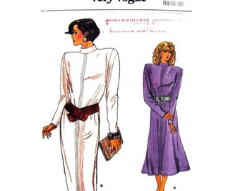 1980s Dress Pattern Vogue 9642 Straight or Flared Dress Back Button Stand Up Collar Long Sleeve Womens Vintage Sewing Pattern Size 14 16 18
