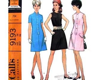 1960s Mod Dress Pattern McCalls 9193 A-Line Mini Dress Sleeveless or Short Sleeve Belt Womens Sewing Pattern Bust 36 Vintage Pattern