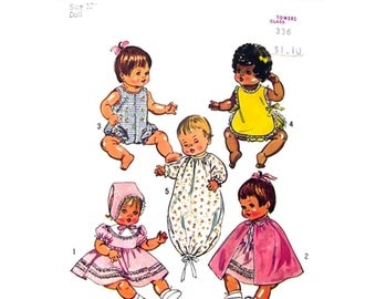 1970s Vintage Doll Clothes Pattern Simplicity 5275 Betsy Wetsy, Ginny Baby 12 inch