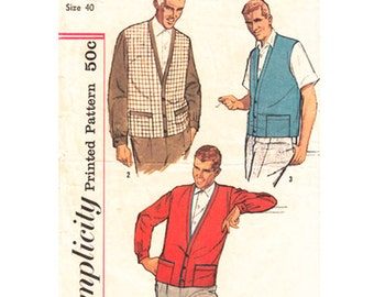 Mens 1950s Cardigan & Vest Pattern Simplicity 2855 Chest 40 Vintage Sewing Pattern