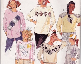 McCalls 3436 Girls or Teens Sweatshirt Sewing Pattern Size 7 Stretch Knits Pullover Top Ribbed Knit Neckband and Cuffs Overlock Serger Uncut