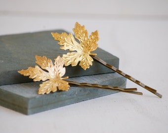 Gold LEAF Bobby Pins Garden Woodland Wedding Boho Nature Whimsical Maple Leaf Autumn Canada