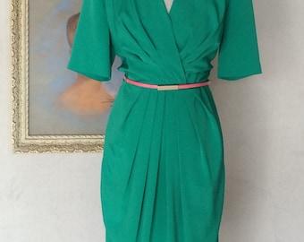 1980s 1990s Vintage Dress - Green Dress - Ms Chaus - Work Dress - Flattering Fit - Shoulder Pads - Work Wear - Retro Power Dress - 38 Bust