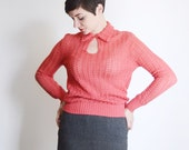 1970s Coral Knit Sweater - S/M