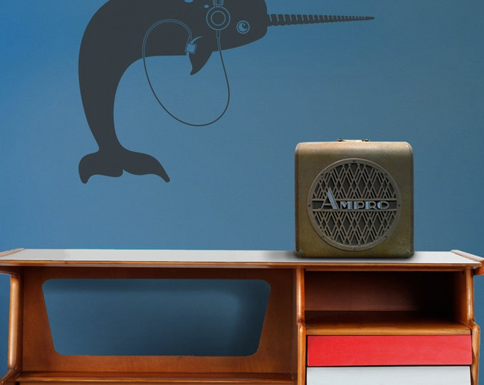 narwhal with headphones wall decal, vinyl sticker art, iPod, music wall art, earphones, FREE SHIPPING