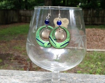 green and blue upcycled enamel hoop earrings - 634