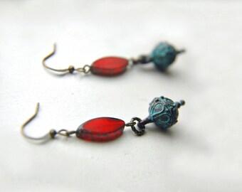 Dangle Drop Earrings Edwardian Victorian Boho Chic Ornate Greek Mykonos Glass Beaded ~ Barcelona