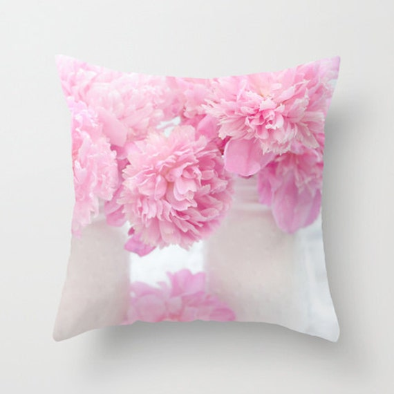 Pink Shabby Chic Throw Pillows : Pink Peony Throw Pillow Shabby Chic Peony Pillows Pink Peony