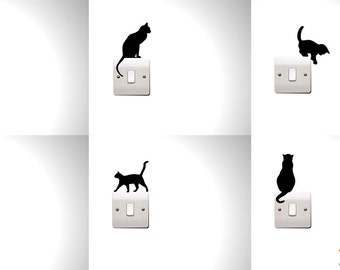 Set of 6 Cats Silhouette Switch Decal