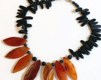 Christmas in July Sale Big Bold Chunky Gemstone Necklace Set, Red Agate, Blue Goldstone, 3 Piece Set