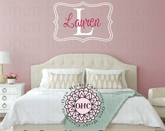 Personalized Baby Girl or Boy Name Wall Decal - Customer Monogram Vinyl with Polka Dot Frame Border 22H x 32W FN0319