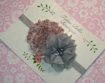 Pink and Gray Flower Headband, Baby Headband, Silver Pearl Chiffon Flower, Toddler Headband, Newborn Headband, Gray and Pink hair bow