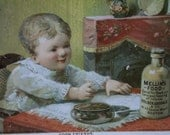 Cute Baby at Table-1884 Mellin's Food Victorian Trade Card-Doliber Goodale-Boston