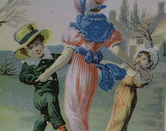 Lautz Bros Soap-Victorian Advertising Trade Card-Dancing Girls & Boys-Hats-Fashion-1800's