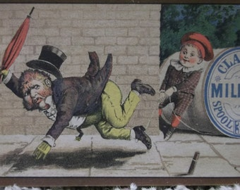 Clark's Mile-End Thread Victorian Advertising Trade Card-Naughty Boy Tripping Man