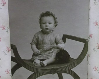 Sweet Curly Haired Barefoot Baby Boy-Toy Puppy Dog-Vintage Real Photo Postcard