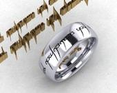 Custom Engraved Tengwar Ring Band, Mens Tengwar Jewelry,  Elvish Ring  Personalized