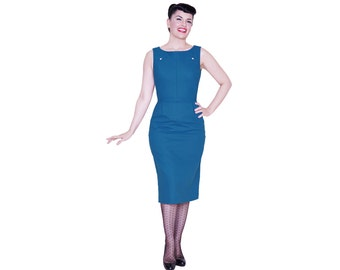 Margot dress from The Domestic Dame - sleeveless wiggle dress with welt pockets - gorgeous teal linen