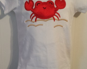 Boys summer crab on beach sand vacation birthday cruise shirt or onesie