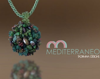 Pendant with Jasper, Green Agate, Black Pearl and Murano Green Crystals with Silk Cords