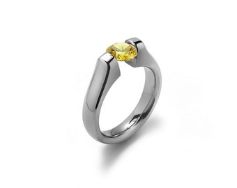 Yellow Topaz Tension Set Ring Stainless Steel