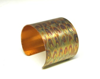 Colorful flame painted cuff bracelet, wide copper cuff, abstract modern OOAK bracelet, hippie boho renaissance cuff, SilverStonesConcepts