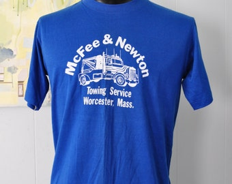 Vintage Tshirt Royal Blue Super Soft Thin Tee Early 80s Tee LARGE