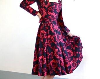 VTG 80s Laura Ashley Strapless Dress & Bolero Jacket 2 Piece Set Shoulder Pads Full Skirt Black w/ Wine Red Rose Floral Print 1980s Outfit