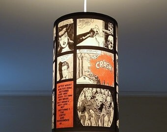 Comic Strip superhero girls red ceiling pendant lamp shade lampshade - lighing, pop culture, comic book, geek, pendant light, dorm room
