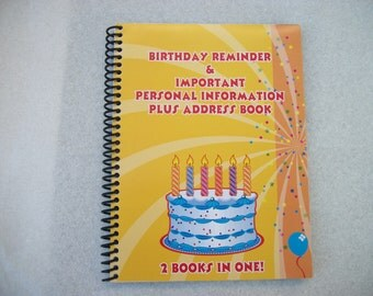 Birthday Reminder & Important Personal Information Plus Address Book  2 Books In One!