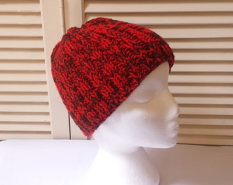 Womens Red And Brown Knit Beanie/ Hand Knitted Chunky Rib Stitch Cap Adult/Teen Size Hat/ Handmade Winter Accessory