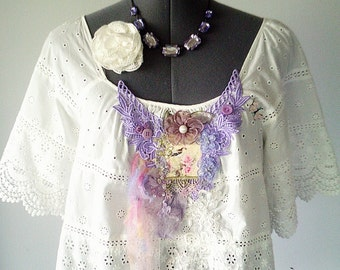 wearable art, art to wear, upcycled blouse, victorian blouse, embroidered top, bird top, white lace top, bohemian clothing