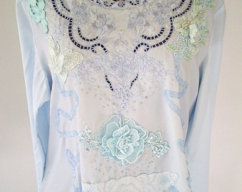 vintage inspired, plus size top, blue upcycled top, blue lace blouse, victorian clothing, pale blue top