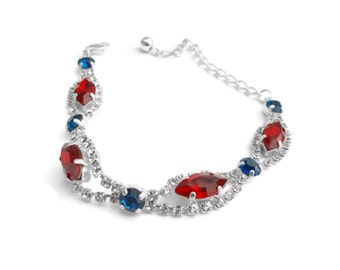 Swarovski Ruby Capri Blue Crystal Tennis Bracelet Silver - Spring Collection - by Vision of Beauty Design