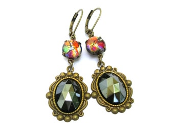 Black Opal Hematite Victorian Earrings Clip On Earrings