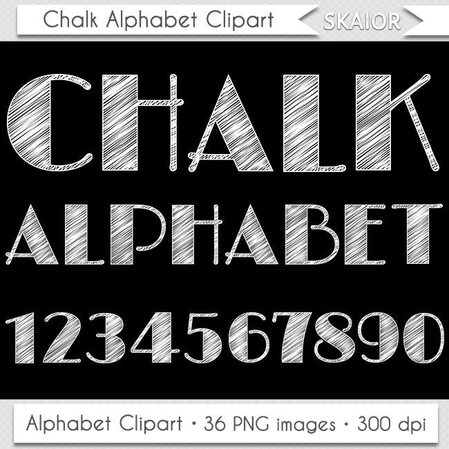 Chalkboard Alphabet Clipart Letters Clipart Scrapbooking by skaior