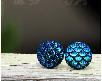 Mermaid Scale Stud Earrings, Blue and Teal Shimmer Dragon Scales - on Titanium, Sterling Silver or Stainless Steel Posts