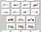 """Vintage Prints - 8x10"""" Watercolor Prints (SET OF 4)  -  Aviation, Trucks, Tractors"""